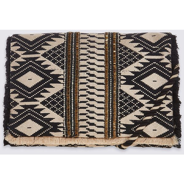 Aztec Print Hand Embellished Clutch Bag with Strap M&S ($32) ❤ liked on Polyvore featuring bags, handbags, clutches, aztec purse, aztec print purse, embellished purse, embellished handbags and aztec print handbags