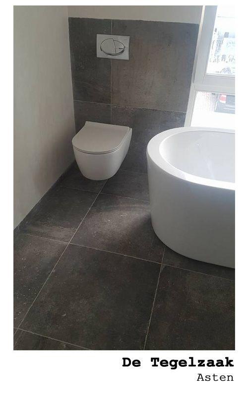 Badkamer Vloertegels 60x60.Stoere Toilet 60x60 Antraciet Met Een Vleugje Bruin Getrommelde