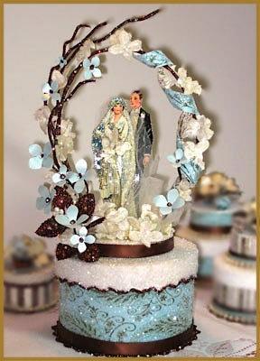 "1920's ""Blue Garden"" Wedding Cake Topper"