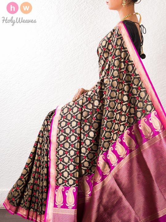 Black Handwoven Katan Silk Cutwork Brocade Saree