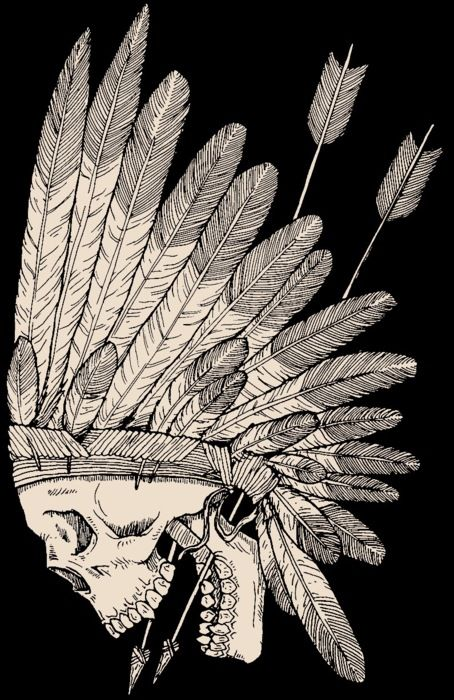 i really love skulls but i don't want just a skull and i thought this Indian head dress would be an awesome tattoo with it because i love both <3