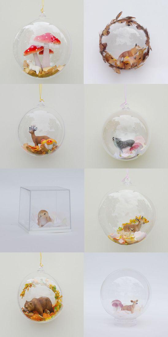 Atelier / Déco d'Automne : des bulles ou demi-bulles remplies de faune et de flore automnales !