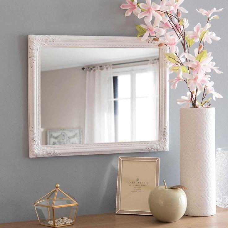Spiegel mit Zierleisten weiß gealtert 40x50cm ODELIA