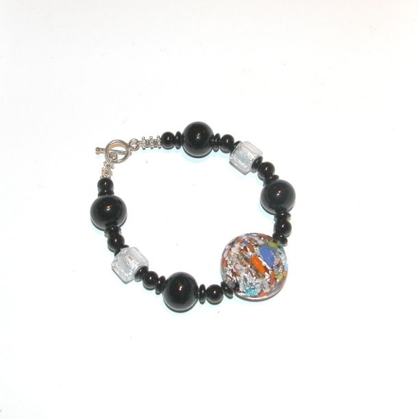 Murano Glass Bracelet Black/White with Multi Color Center Piece