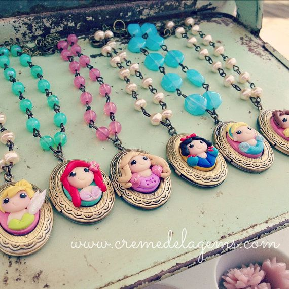 FIVE creme de la gems polymer clay girls princess cameo locket necklaces - FIVE necklaces - cremedelagems