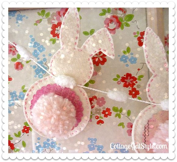 Pretty Bunny Bunting! - Cottage Gal Style Free pattern available