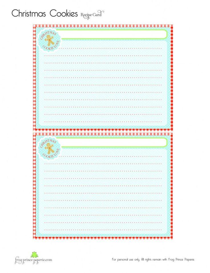 {Free} Gingerbread Christmas Cookies Free Printable Recipe Card