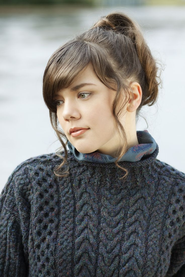 Detail of Na Craga from Aran Knitting with a scarf made out of Japanese knimono silk.