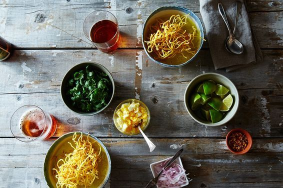 Khao Soi (Northern Thai Coconut-Curry Chicken Soup) , a recipe on Food52 Chinese egg noodles, lime leafs, lemongrass,