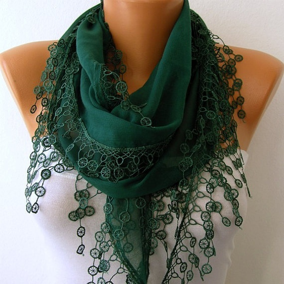 Emerald Green Scarf - Cotton Scarf - Headband Necklace Cowl with Lace Edge - $16.00