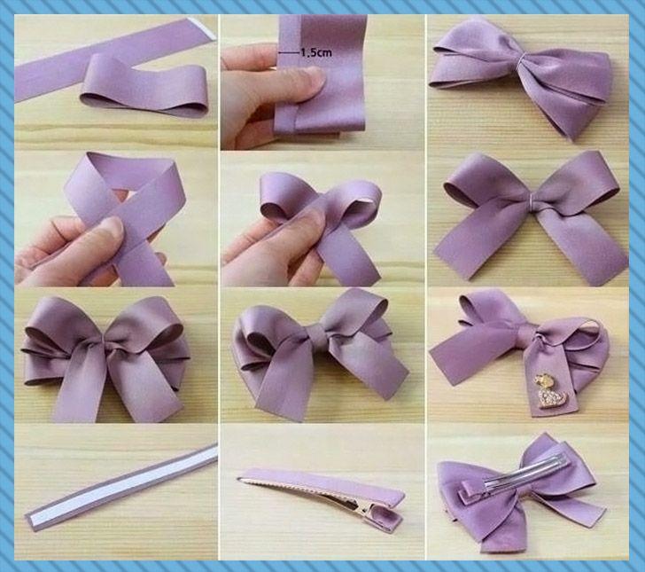 Presilha para cabelos fácil com laço em tecido lilás