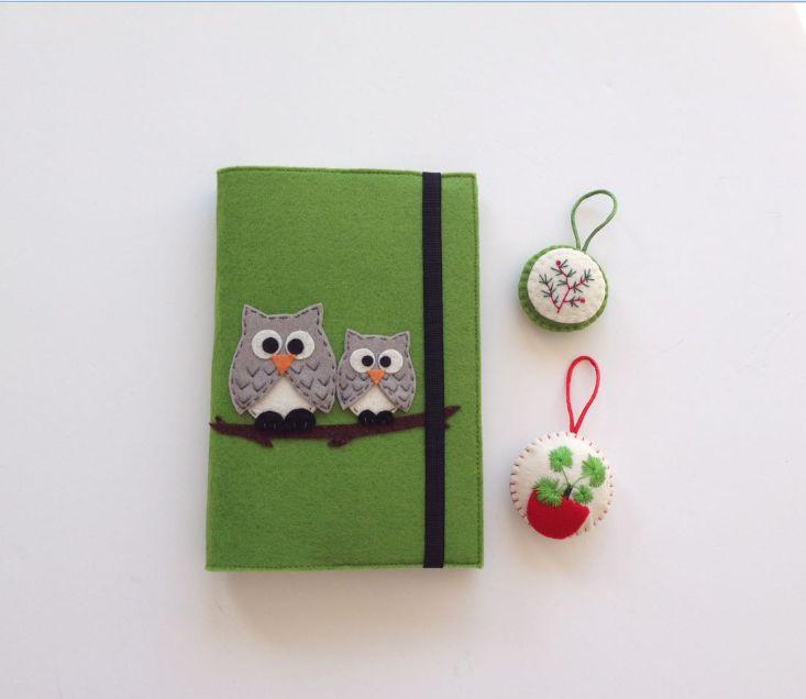 İki Baykuşlu Yeşil Keçeden Kitap Kılıfı - Diğer 361109 | zet.com