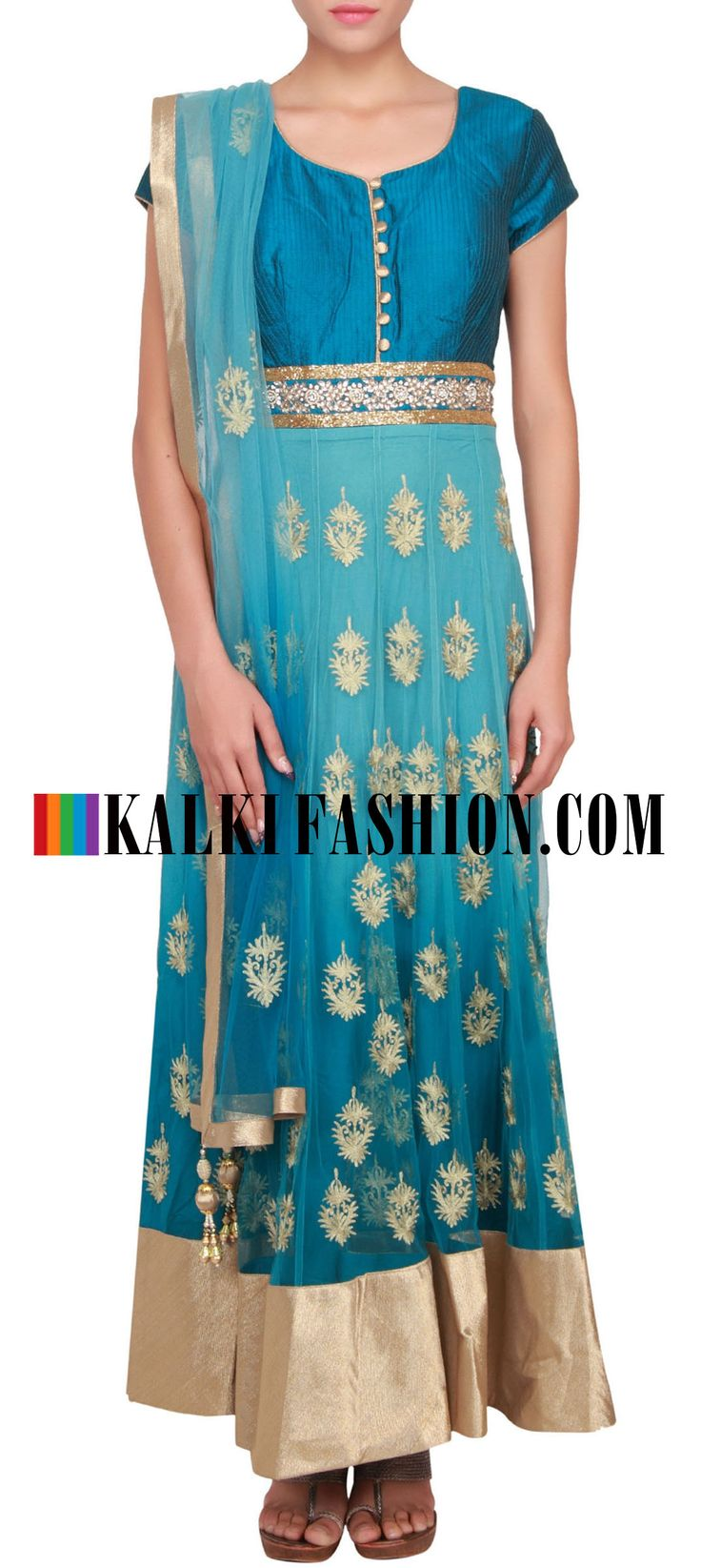 Buy Online from the link below. We ship worldwide (Free Shipping over US$100) http://www.kalkifashion.com/mist-and-teal-shaded-anarkali-suit-embellished-in-zari-butti-only-on-kalki.html