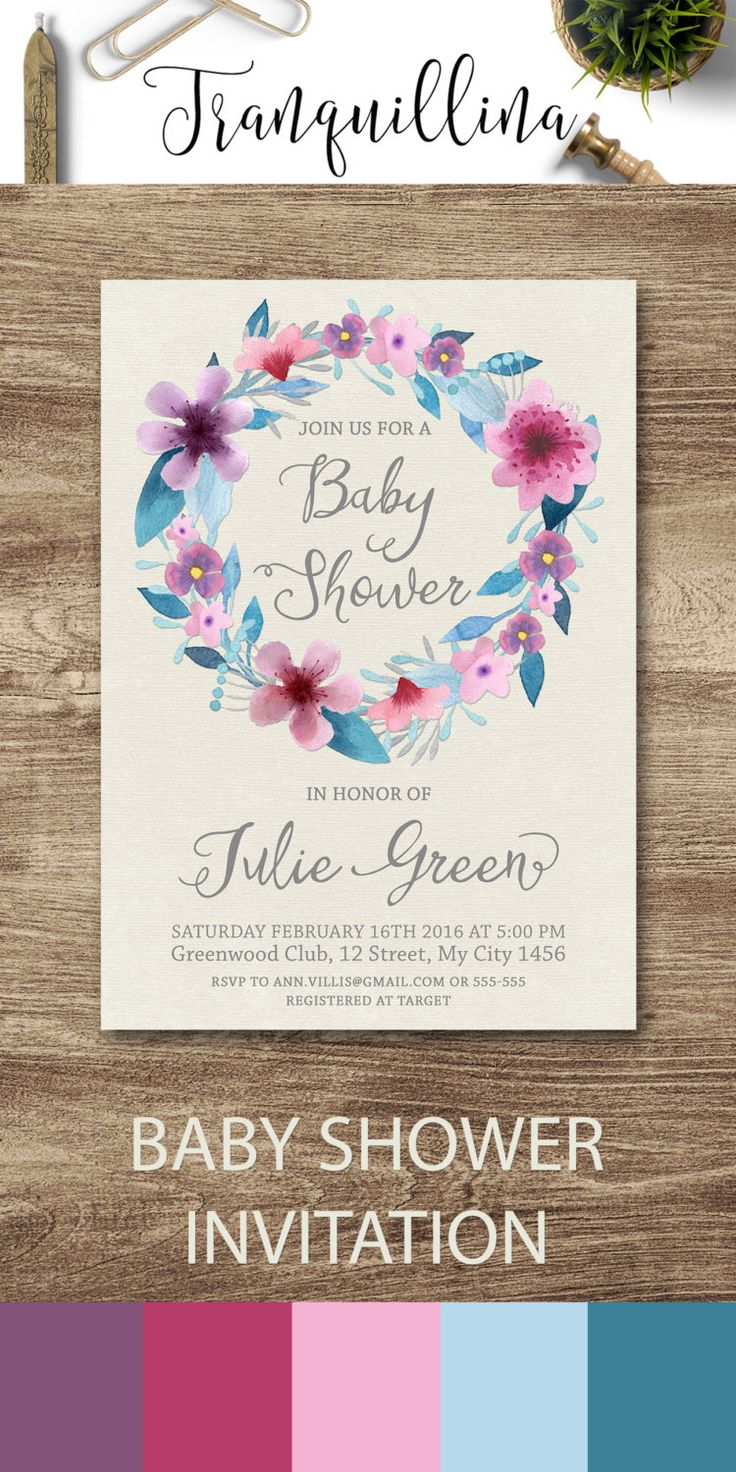 Baby Shower Invitation Printable, Floral Baby Shower Invites, Girl Baby Shower Ideas, Purple Baby Shower Invitations - pinned by pin4etsy.com