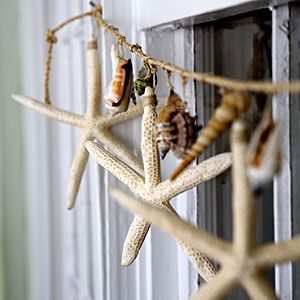 Beach Garland: A great use for all the shells your family finds on vacation.  (But remember, leave live starfish at the beach!)