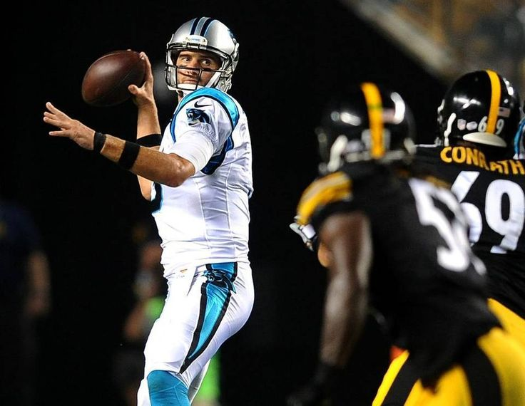 Carolina Panthers quarterback Derek Anderson drops back to pass as the Pittsburgh Steelers defense rushes during second quarter action on Thursday, September 3, 2015 at Heinz Field in Pittsburgh, PA.