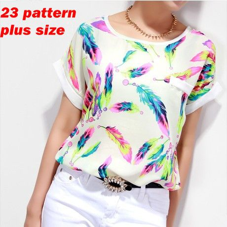 Women Blouses Shirts Chiffon Plus Size Feminina Top Tee Short Shirt Woman Clothing Blusa Camisa Summer Tops Shirt Floral Fashion
