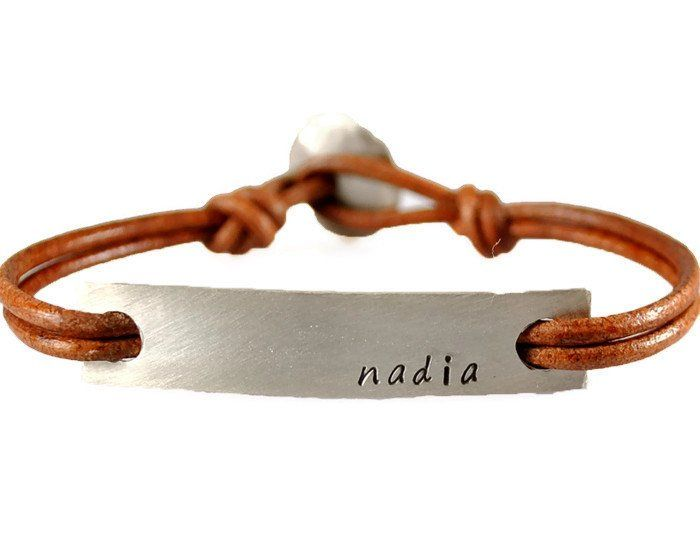 Custom Personalized Name Id Tag Leather Bracelet Gifts