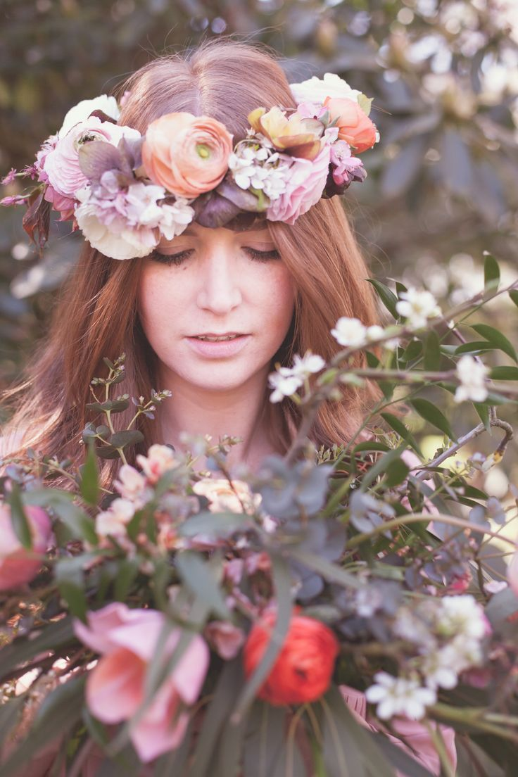 Spring flower crown. Flowers by Catkin, photo by Annabel Smith
