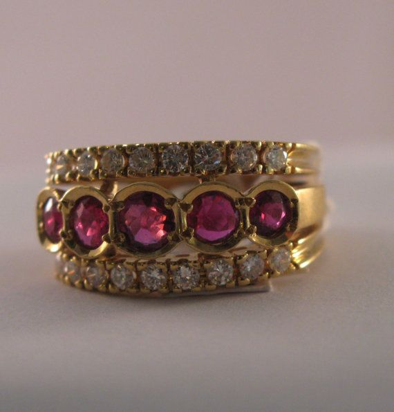 Vintage 18k Yellow Gold Ruby  Rubies and by VintageJewelries.  www.etsy.com/listing/220357797