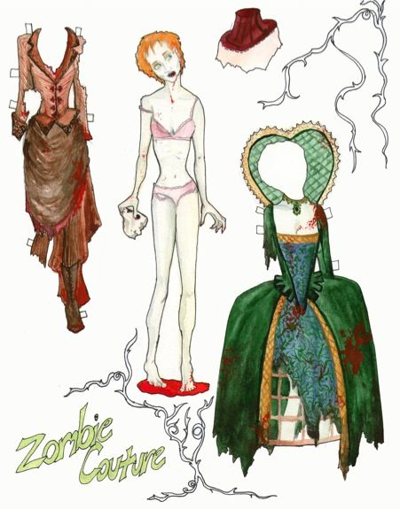 zombie paper dolls from NeuroticOwl.com