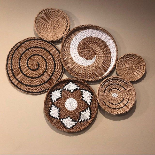 Set Of 6 Wall Plates African Basket Wicker Basket Boho Wall Art Woven Wall Basket Round Wall Basket Tray Home Decor Sets Of 6 Baskets Baskets On Wall Basket Wall Art