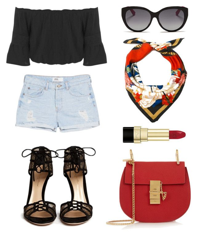 St. Piece Wardrobe Inspiration: St. Piece silk square scarf 'Mercury', #fashion #fashionset #style #streetstyle #summer #polyvore #polyvorecontest #peasanttop #missselfridges #black #jeans #denim #shorts #mango #heels #sandals #GianvitoRossi #sunglasses #dior #scarf #silkscarf #silk #print #stpiece #st_piece #leatherbag #chloe #red #cosmetics #makeup #lipstick #dolceandgabbana