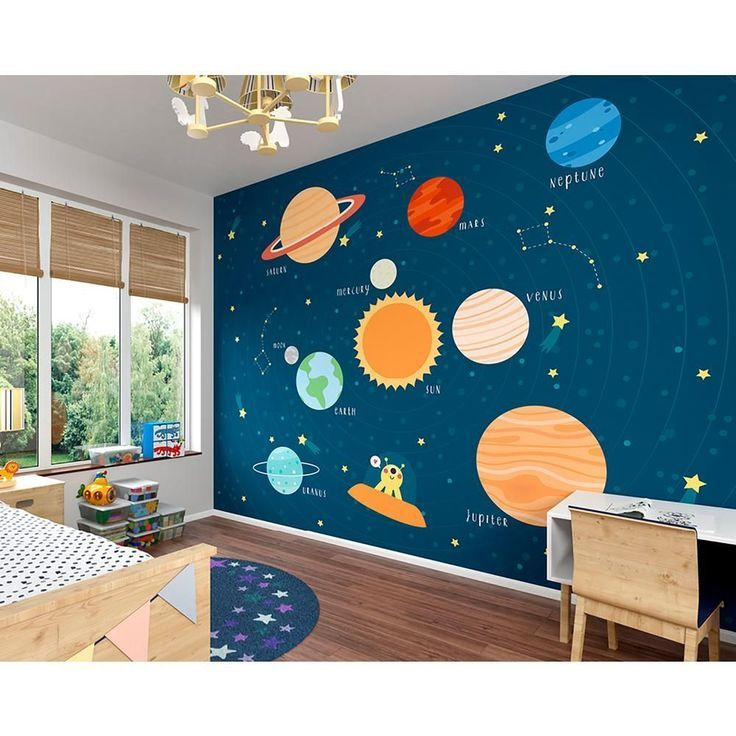 Ohpopsi Outer Space Wall Mural Wals0341 The Home Depot Outer Space Room Space Themed Bedroom Boys Room Mural