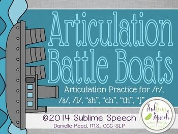 Articulation sessions will be exploding with fun when you use this classic battle boats game infused with articulation practice.  Students play by the classic Battleship rules to give coordinates but use speech words instead of numbers and letters.  Included in this material:Initial/Medial/Final positions of /r/ Battle Boats boards with visual cuesInitial/Medial/Final positions of /s/ Battle Boats boards with visual cuesInitial/Medial/Final positions of /l/ Battle Boats boards with visual…
