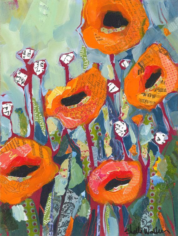 Orange Poppies Original Painting by ShelliWalters on Etsy
