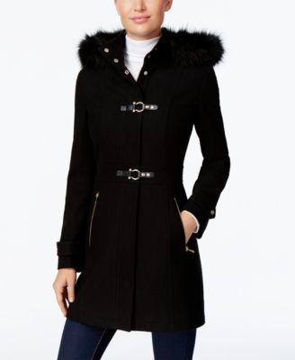 Ivanka Trump Faux-Fur-Trim Buckled Walker Coat | macys.com