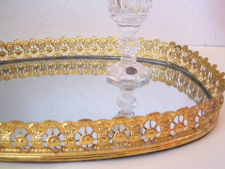 Golden and mirrored dresser tray