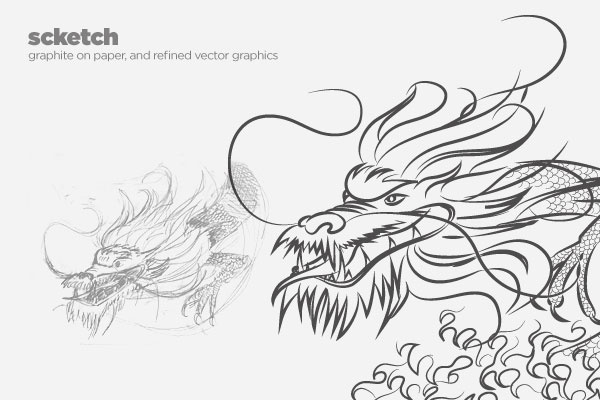 dragon boat festival poster illustration sketch (graphite on paper, and refined vector illustration)