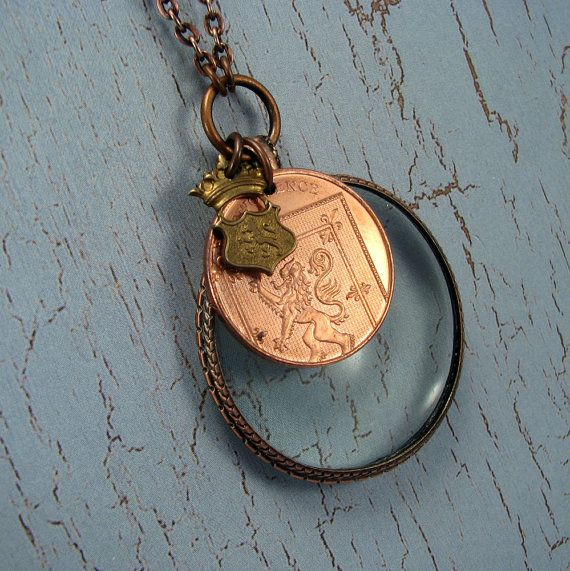 Custom personalized necklace from your travel souvenir coins  by AdornmentsNYC