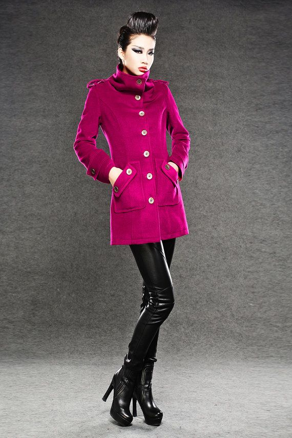 Fitted Military Style Red Cashmere Winter Coat Women by YL1dress