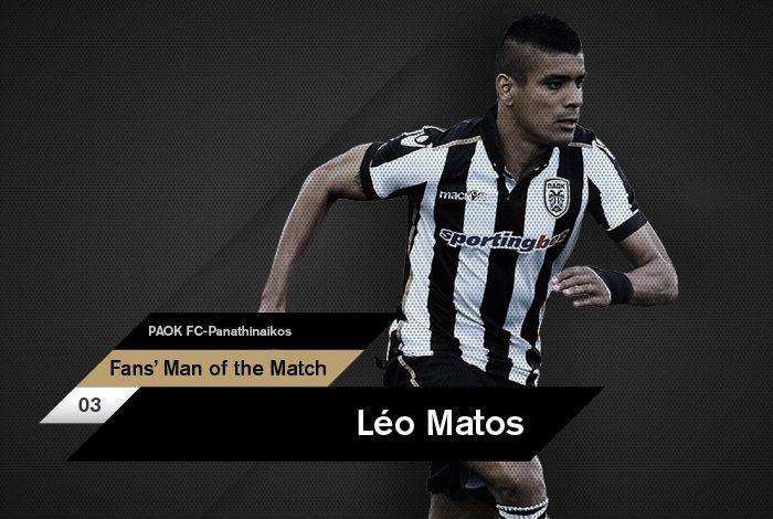 Ο Λέο Μάτος αναδείχθηκε, από το κοινό του paokfc.gr και του PAOK FC Official App, ως ο Fans' Man of the Match της αναμέτρησης κόντρα στον Παναθηναϊκό στο γήπεδο της Τούμπας για την 28η αγωνιστική της Super League.