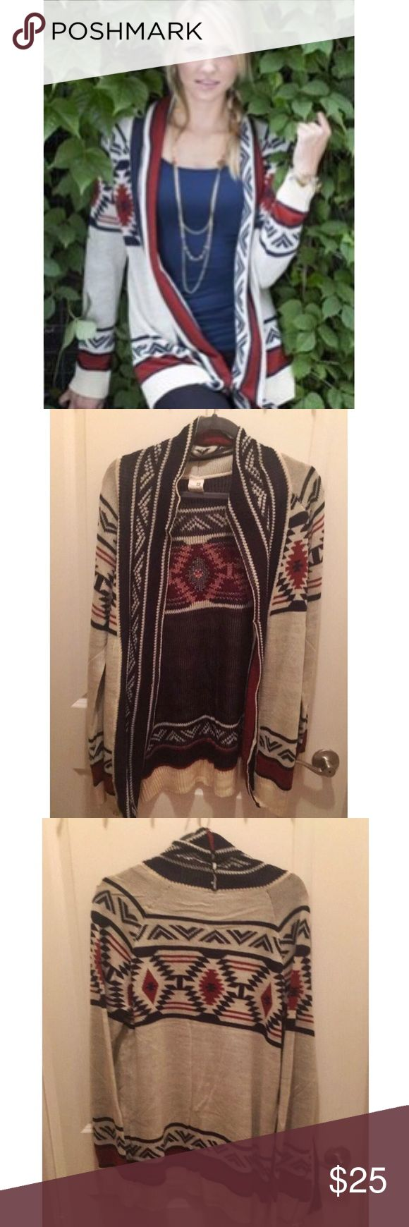Never Been Worn Aztec Print Cardigan Never been worn! I love this cardigan but I'm trying to make more room in my closet. I usually wear a medium but it runs a little small so I sized up. Pink Owl Sweaters Cardigans