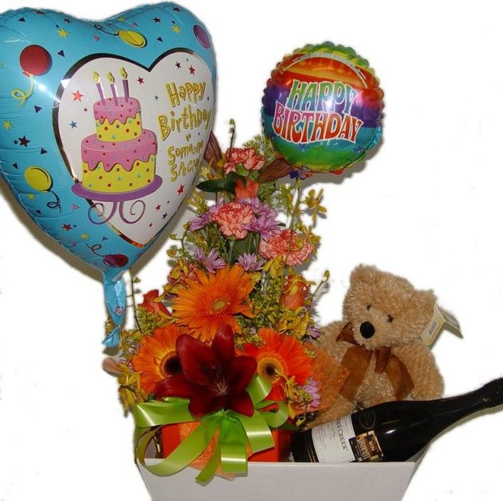 Happy Birthday Flowers With Teddy And Balloon