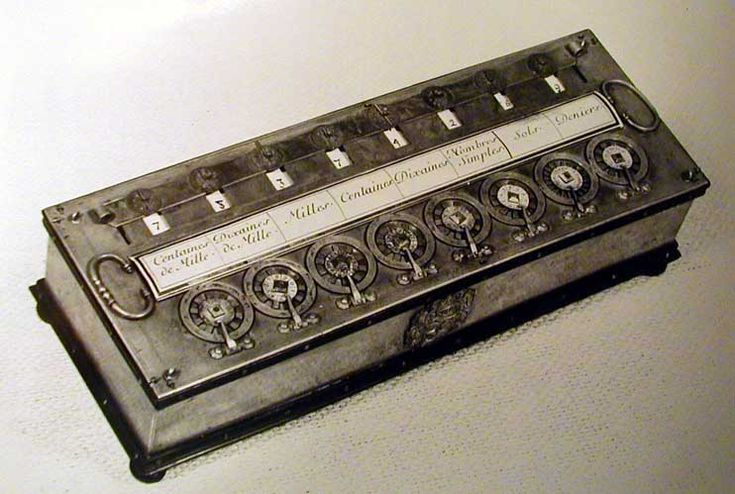 "In 1642 Blaise Pascal, at age 19, invented the Pascaline. Pascal's device used a series of toothed wheels, which were turned by hand and which could handle numbers up to 999,999.999. Pascal's device was also called the ""numerical wheel calculator"" and was one of the world's first mechanical adding machines."