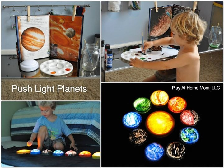 Cheap Dollar Tree tap lights, then paint the planets! Cute!!
