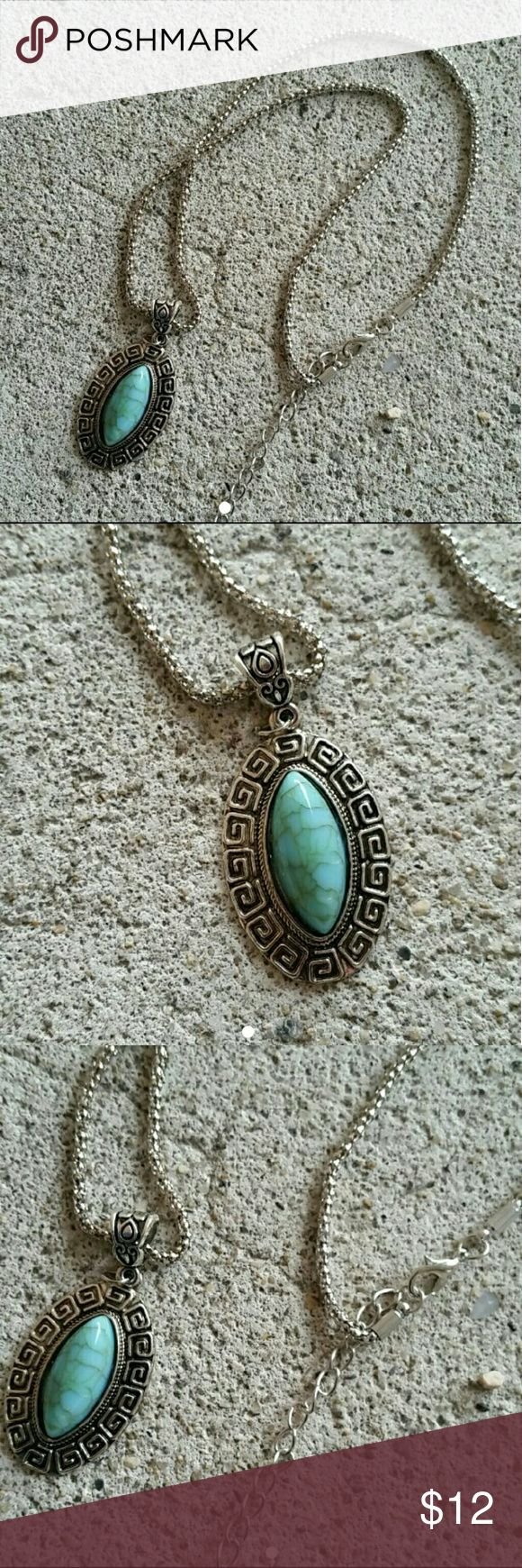 Chunky aztek turquoise necklace *nice turquoise stone pendant with a very lightweight silver tone setting  *funky Aztec design *adjustable clasp  *hollow silver tone chain  *Stone is manmade  No free shipping, I am open to offers  Bundle to save on shipping   Fashion, trendy, festival, boho, bohemian, Hippie, grunge, hipster, casual, native American, aztek, mayan, southwestern, necklace, choker, focal, chunky, jewelry, forever 21, f21, hot topic, Abercrombie, aeropostale, Hollister, h&m…