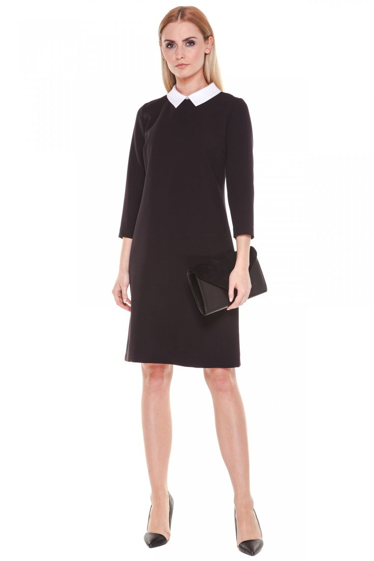 czarna sukienka z białym kołnierzykiem | Czarna sukienka z kołnierzykiem - Tova - Odzież damska Balladine.com ...