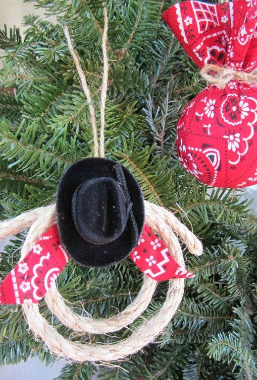 Set of 6 Country Western Cowboy Bandana Ball Cowboy Hat Lasso Handmade Christmas Ornaments by SimplyCountryHome