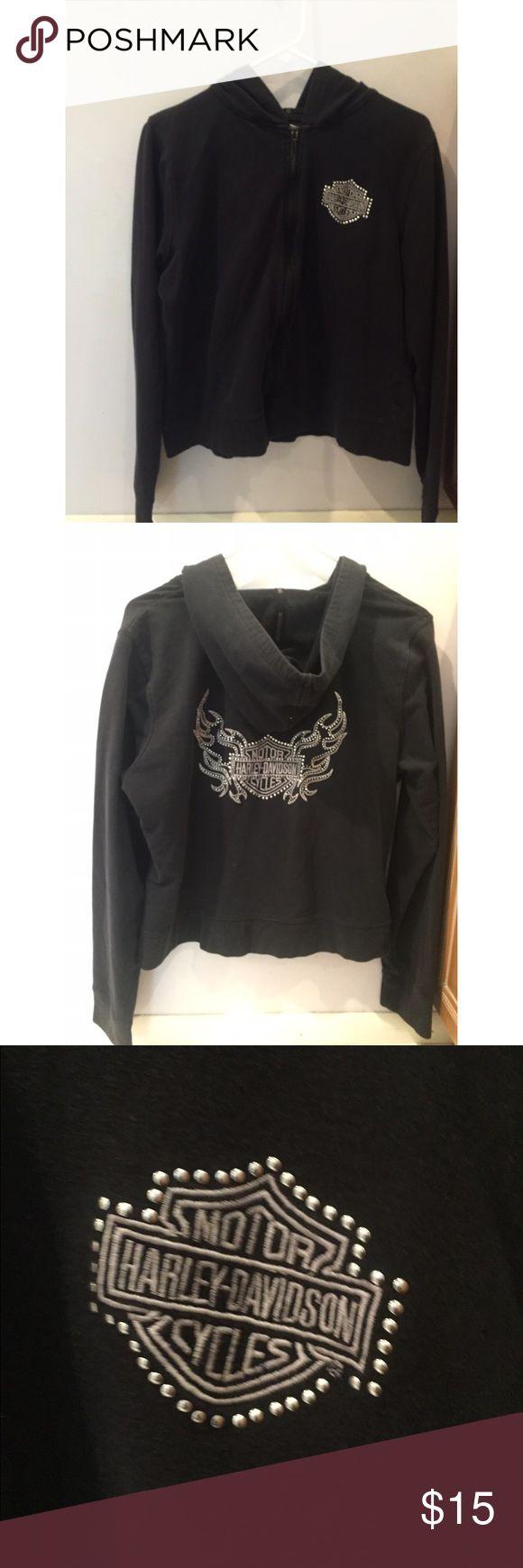 Harley Davidson Sweatshirt Perfect condition, women's studded sweatshirt. Runs small, fits way more like a large!! Harley-Davidson Sweaters