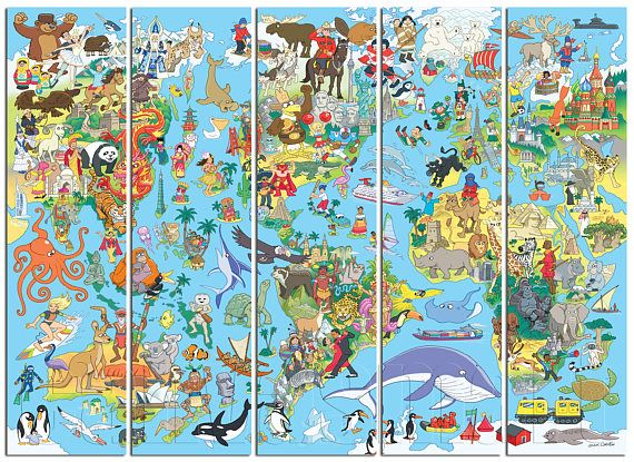 Kids Blue Abstract World Map Diptych Triptych Multi Panel