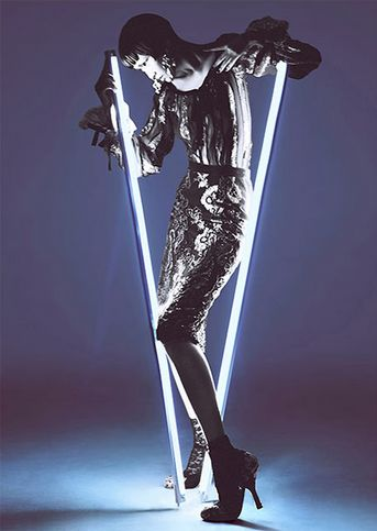 Head down. #Neon #Lights #Fashion #Editorial #Photography #Dress #Silver #Lighting #Futuristic