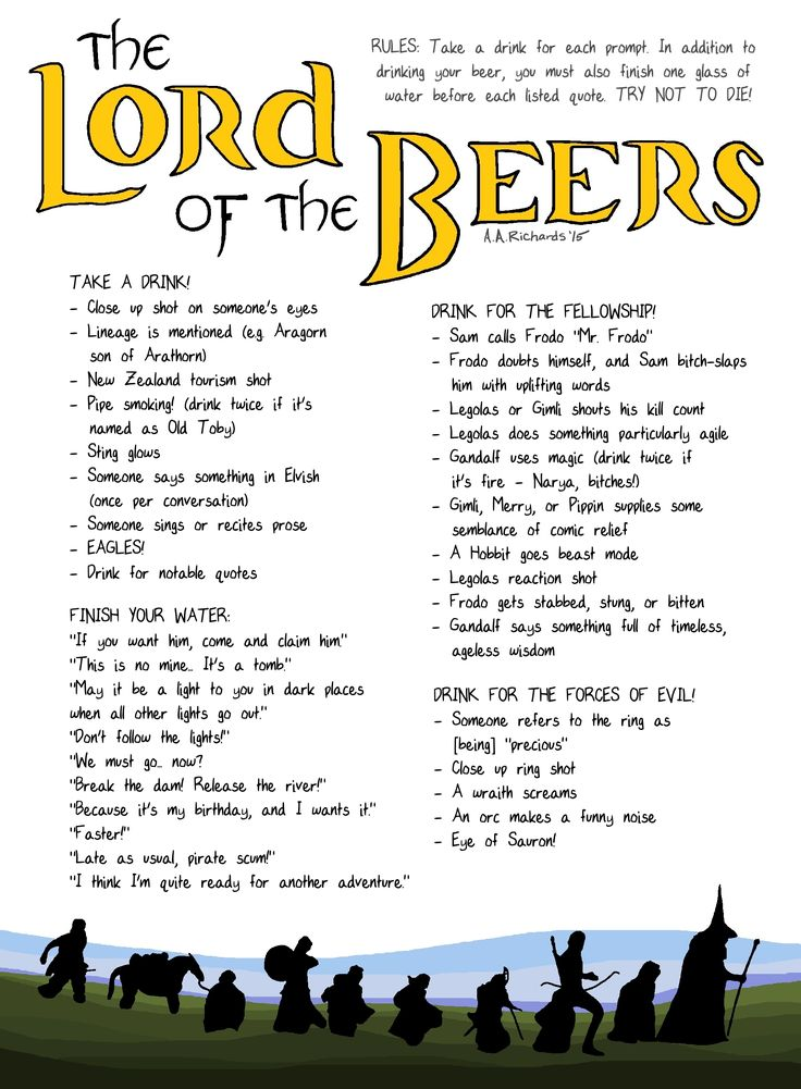 The Lord of the Beers (A Drinking Game)