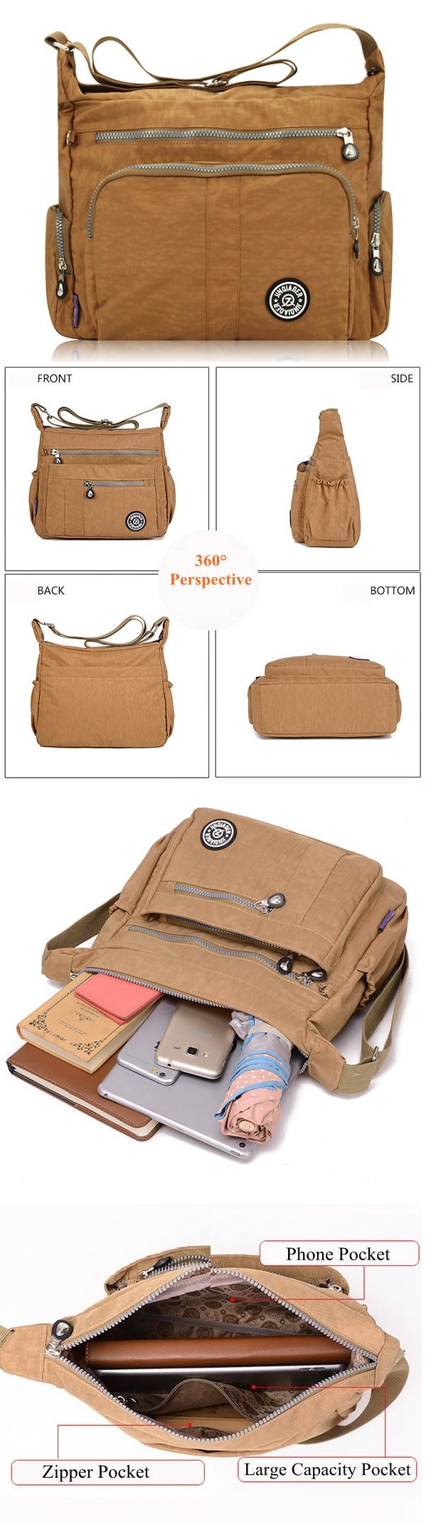 Women Nylon Casual Waterproof Multi-pocket Shoulder Bags Crossbody Bags