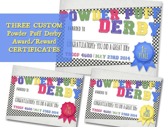 Girl scout powder puff derby award certificates diy printable girl scout derby first for Diy certificates
