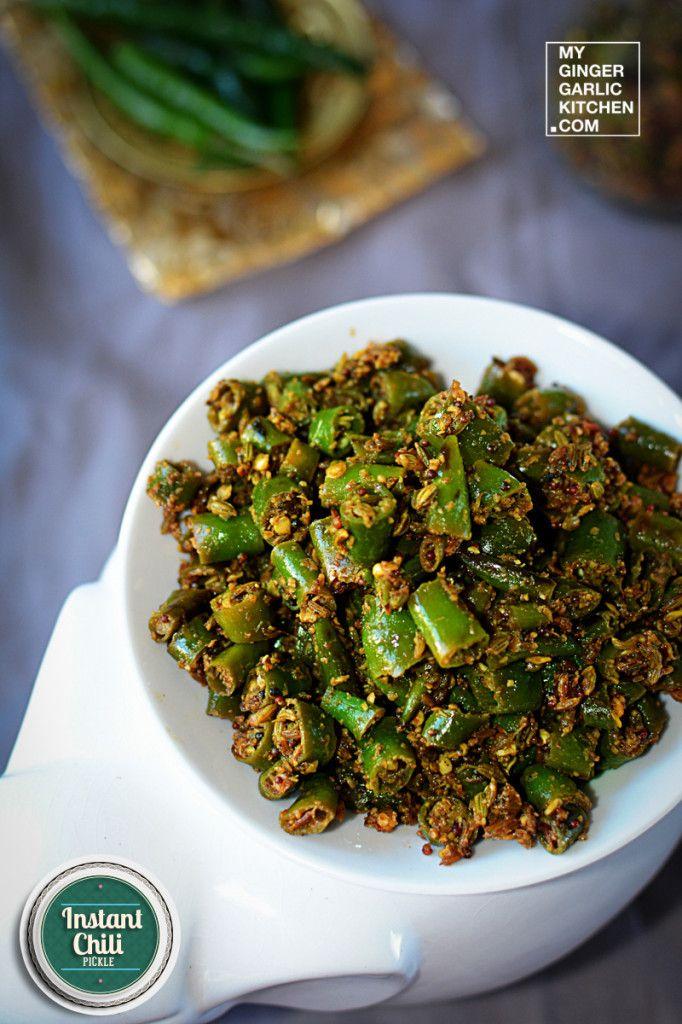 Rajasthani Mirchi ke Tipore – Instant Chili Pickle [#sidedish #recipes #vegan #india #greenchili #pickle #rajasthan #authentic #traditional #hot #chili #spicy]